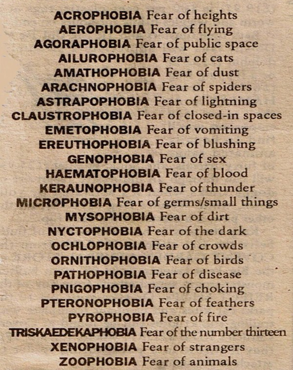 names of phobias